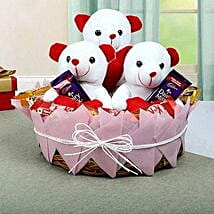 Teddy and Chocolate Basket: Mothers Day Chocolate Bouquet