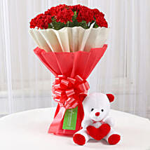 Teddy Bear & 12 Red Carnations Bouquet: Valentines Day Soft toys