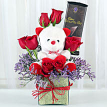 Teddy With Roses: Gifts for Rose Day