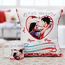 Love Birds Personalised Cuhsion & Mug Combo: Personalised Mugs for Her