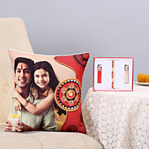 Thread Rakhi & Personalised Cushion Combo: Designer Rakhi