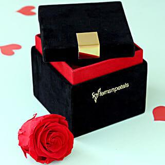 Timeless- Forever Red Rose in Velvet Box: Send Flowers to Agartala