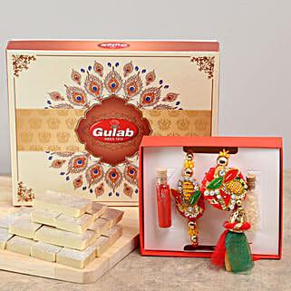 Trendy Bhaiya Bhabhi Rakhi & Kaju Katli Combo: Rakhi Gifts to Dungarpur