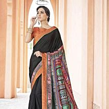 Trendy Black Printed office wear Art Silk Saree: Apparel Gifts