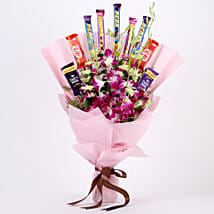 True Feelings- Purple Orchids & Chocolate Bouquet: Womens Day Gifts for Girlfriend