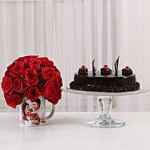 Truffle Cake & 20 Red Roses Mug: Flowers N Personalised Gifts