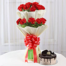 Two Layer Red Carnations Bouquet & Chocolate Cake Combo: Flowers & Cakes Bhopal