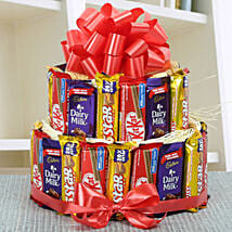 Two Layer Assorted Chocolate Arrangement: Chocolate Gifts in India