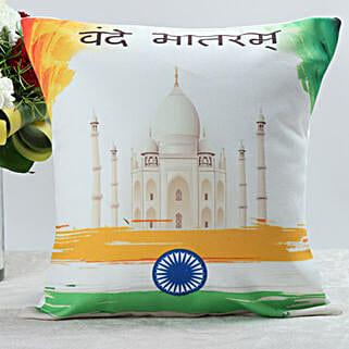 Vande Matram Cushion: Independence Day Gifts