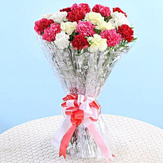 Vibrant Carnations Bouquet: Send Flowers for Parents