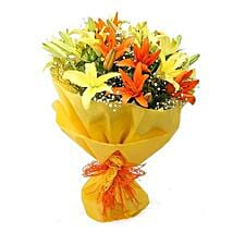 Vibrant Lilies Bouquet: Flower Bouquets for Birthday