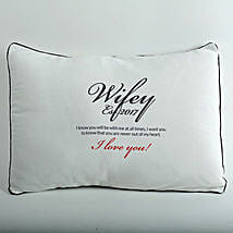Wifey Love Personalized Cushion: Gift Delivery in Bhandara