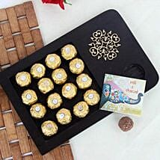 Wooden Tray Of Rocher Chocolates: Send Bhai Dooj Gifts to Faridabad