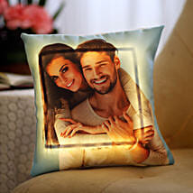 Yellow LED Personalised Love Cushion: Send Personalised Gifts to Mysore
