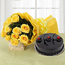 Yellow Roses and Cake: Flowers & Cakes Ludhiana