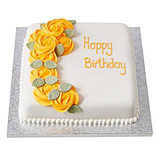 Yellow Roses Fondant Cake: Birthday Butterscotch Cakes