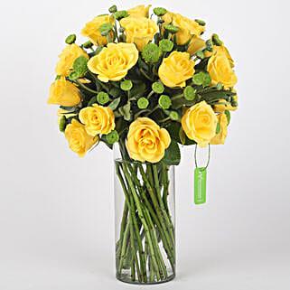Yellow Roses & Green Daisies in Glass Vase: Flowers for Janmashtami