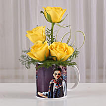 Yellow Roses in Personalised Mug: Fathers Day Personalised Gifts