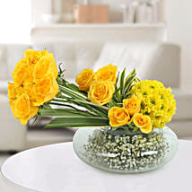 Yellow Roses N Daisies Arrangement: Independence Day Gifts