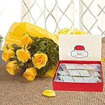Yellow Roses N Kaju Katli: New Year Flowers & Sweets