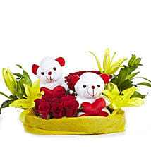 You & Me- Teddy Bear with Roses & Lilies: Valentine Romantic Gifts