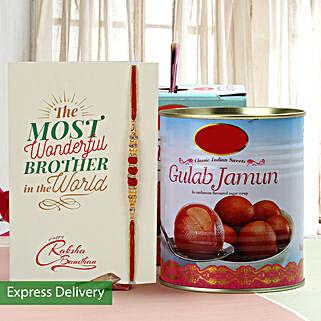 Yummy Gulab Jamun And Rakhi Combo: Send Rakhi to Jalna