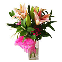 Stargazer Lilies in Vase: Lilies to Malaysia