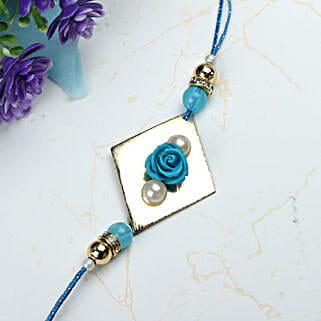 Blue Rose with Pearl Rakhi MEX: