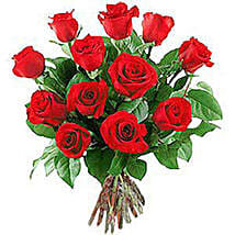 12 Long Stem Roses: Valentines Day Flowers to Nepal