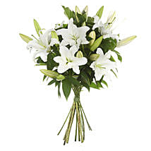 Exotic White Lilies Bouquet: Send Gifts to Hamilton