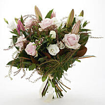 Fresh Roses N Lilies Bouquet: Send Gifts to Hamilton