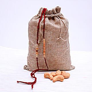 Two Rakhi Set With Cashew Nuts: Rakhi with Dryfruits to New Zealand