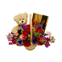 Classic Teddy Bear Basket: Wedding Gifts to Oman