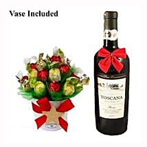 Classic Christmas Sweet Bouquet with Red Wine: Gift Delivery in Poland