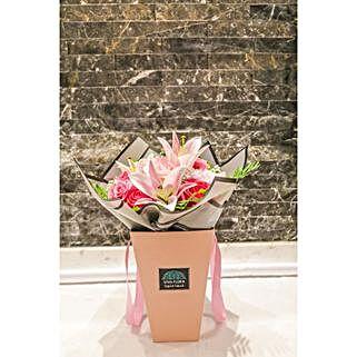 Delicate Pink Flowers Arrangement: Flower Delivery in Qatar