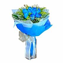 10 Blue Roses Hand Bouquet: Miss You Flowers to Singapore