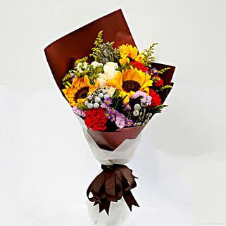 Joyful Bouquet Of Mixed Flowers: Carnations