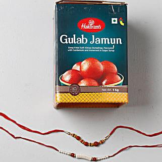 Yummy Gulab Jamun Combo With 2 Rakhis: Send Rakhi to Singapore - Free Shipping