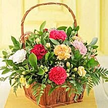 Mixed Carnations in a Basket: Anniversary Flowers to South Africa