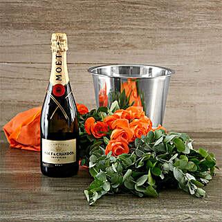 Orange Rose And Moet Surprise: Rakhi Delivery in South Africa