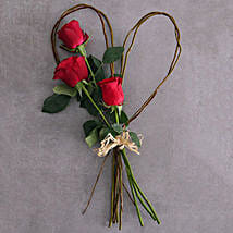 Small Red Rose Willow Heart: New Born Baby Flowers to South Africa