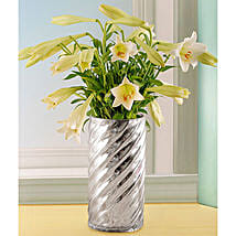 St Joseph Lilies In A Silver Twirl Vase: Order Lilies in South Africa