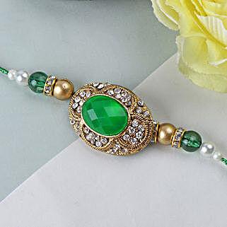 Green Emerald Stone Rakhi SWE: Send Rakhi to Sweden