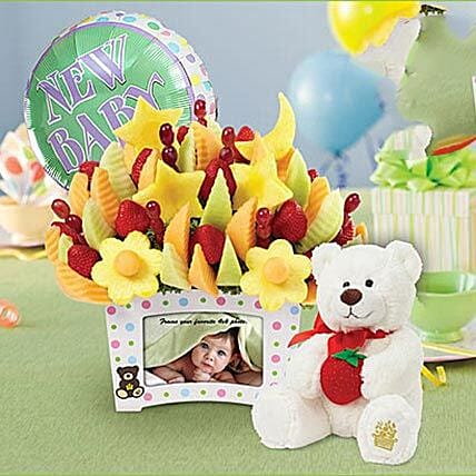 First Moments Bouquet with Balloon and Plush Bear