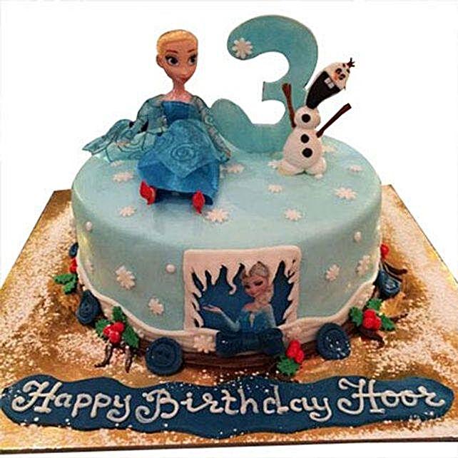 Olaf N Snow Queen Cake
