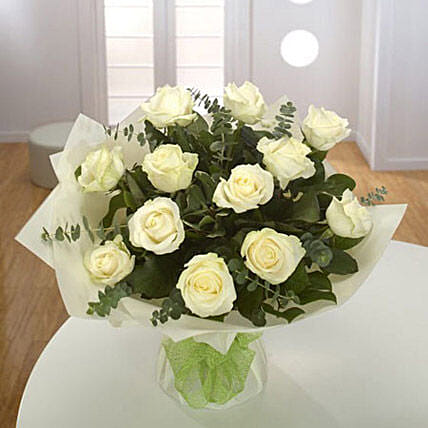 White Roses Bouquet Deluxe