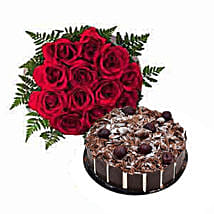 1 Dozen Roses with Cake: Send Same Day Flowers to Abu Dhabi