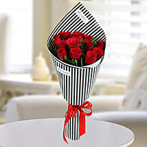 12 Love Red Roses Bunch: Valentine Flower Bouquets to UAE