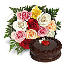 12 Multicolored Roses with Cake: Valentines Day Gifts for Him