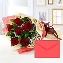 6 Red Roses Bouquet With Greeting Card: Same Day Flower Delivery in Sharjah